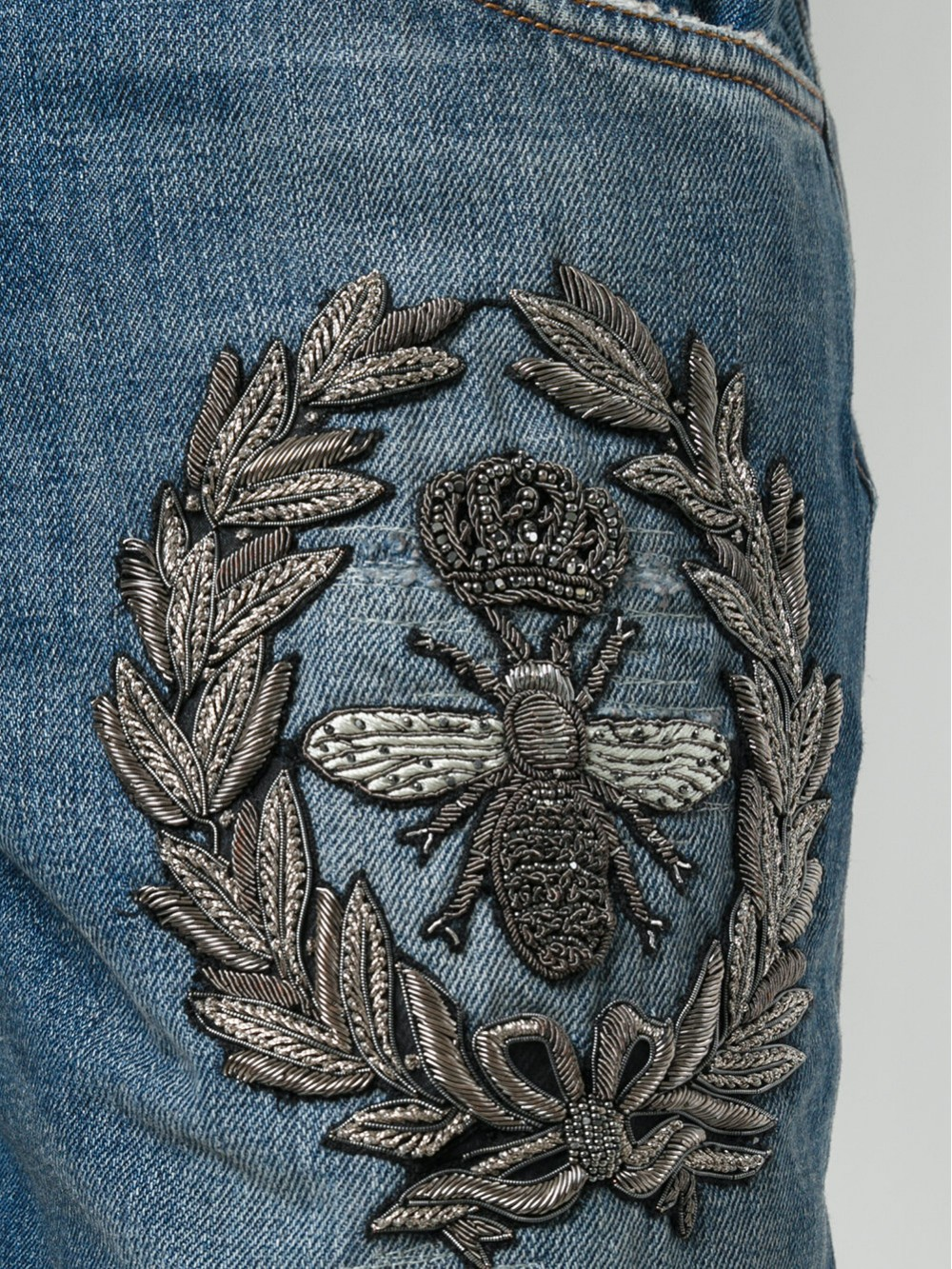 Dolce & Gabbana Crown & Bee Embroidered Jeans