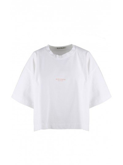 Acne Cylea Cotton-jersey Cropped T-shirt 5A176 Optic white