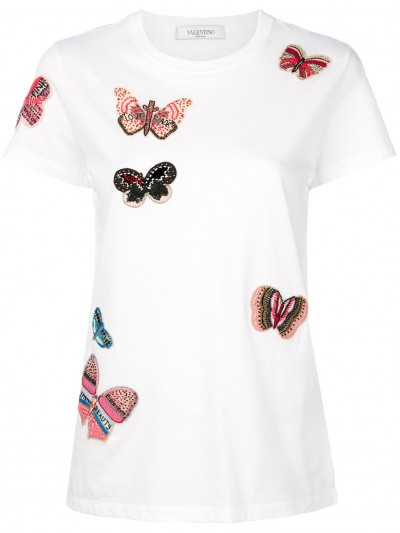Valentino Embroidered Butterfly T-shirt PB3MG06U3P7 0BO