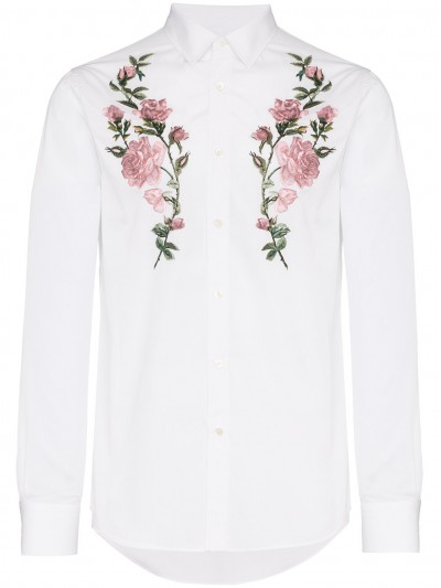 Alexander Mcqueen White Rose Embroidered Shirt 522454QLN66 9000 #015