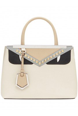 Fendi 2Jours Ivory Leather Totes 8BH253 A1KG F07NN #126
