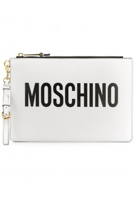 Moschino White Logo Clutch A8405 8001 1001